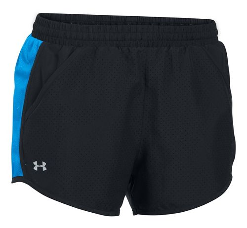 Womens Under Armour Fly By Perforated Run Lined Shorts - Black/Water XS