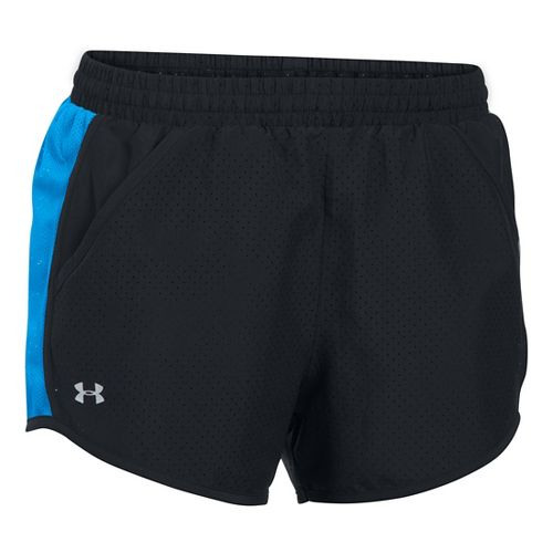 Womens Under Armour Fly By Perforated Run Lined Shorts - Black/Water L
