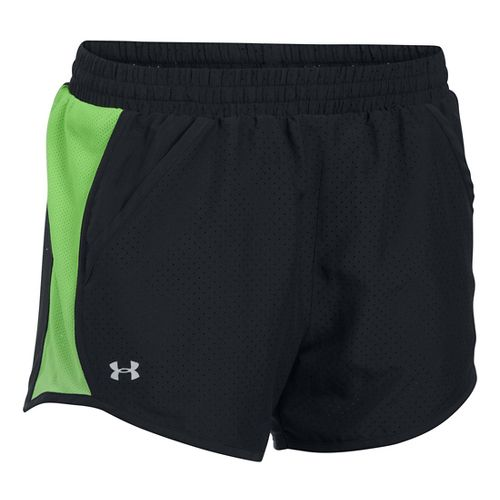 Womens Under Armour Fly By Perforated Run Lined Shorts - Black/Sustenance L