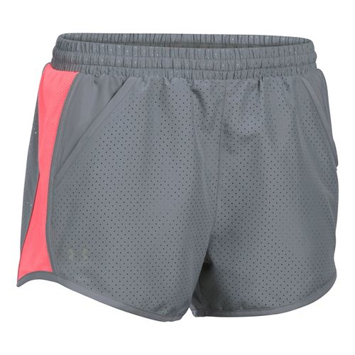 Womens Under Armour Fly By Perforated Run Lined Shorts - Steel/Brilliance M