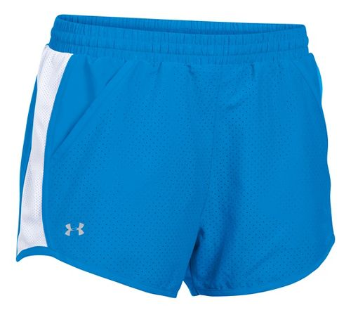 Womens Under Armour Fly By Perforated Run Lined Shorts - Water/White L