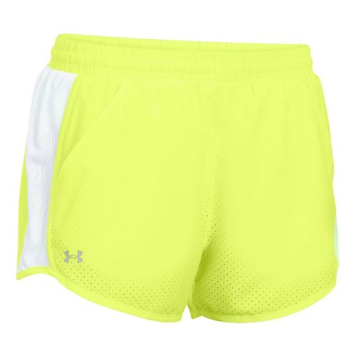 Womens Under Armour Fly By Perforated Run Lined Shorts - X-Ray/White XL