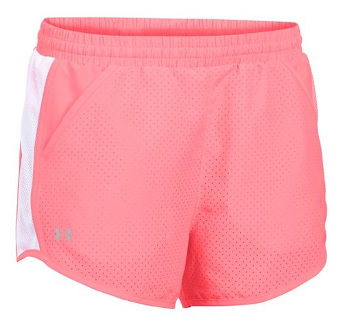 Womens Under Armour Fly By Perforated Run Lined Shorts - Brilliance/White S