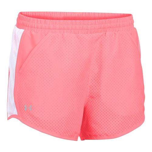 Womens Under Armour Fly By Perforated Run Lined Shorts - Brilliance/White XL