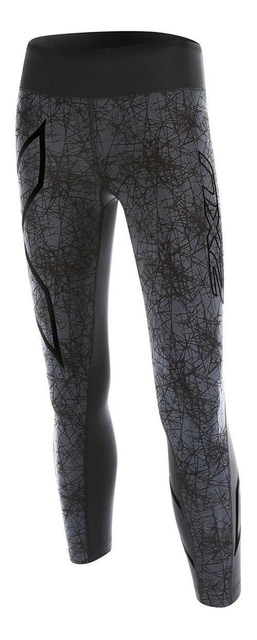 Womens 2XU PTN Mid-Rise 7/8 Compression Tights & Leggings Pants - Black/Vein Pattern S