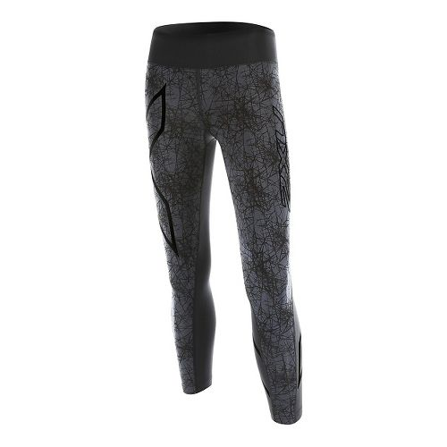 Womens 2XU PTN Mid-Rise 7/8 Compression Tights & Leggings Pants - Black/Vein Pattern XS