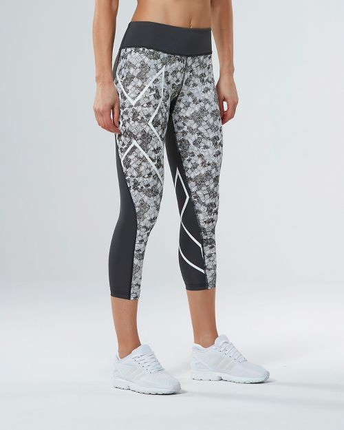 Womens 2XU PTN Mid-Rise 7/8 Compression Tights & Leggings Pants - Charcoal/Prism Cloud M
