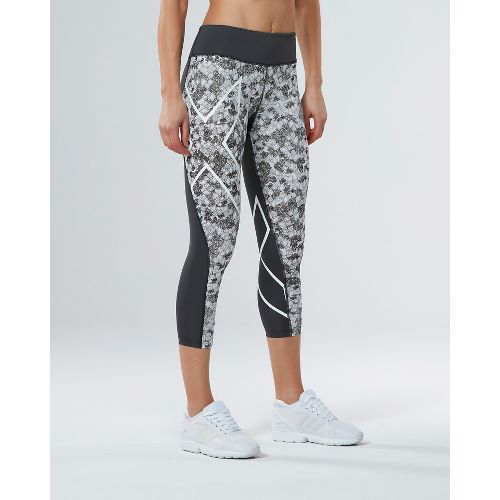 Womens 2XU PTN Mid-Rise 7/8 Compression Tights & Leggings Pants - Charcoal/Prism Cloud L