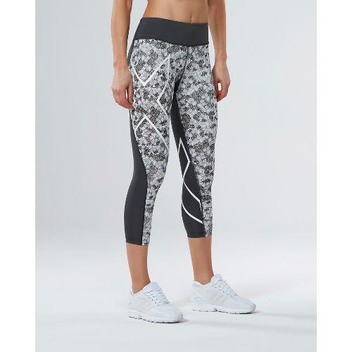 Womens 2XU PTN Mid-Rise 7/8 Compression Tights & Leggings Pants - Charcoal/Prism Cloud XS