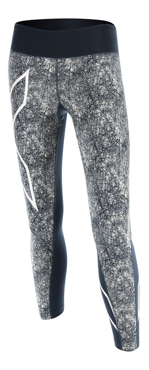 Womens 2XU PTN Mid-Rise 7/8 Compression Tights & Leggings Pants - Blue/Vein Pattern S