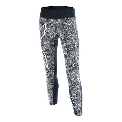 Womens 2XU PTN Mid-Rise 7/8 Compression Tights & Leggings Pants - Blue/Vein Pattern L