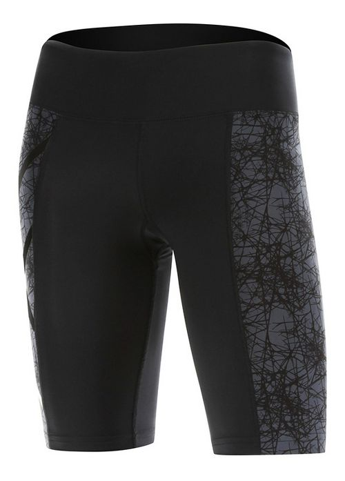 Womens 2XU PTN Mid-Rise Compression & Fitted Shorts - Black/Vein Pattern XS