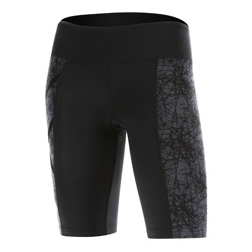 Womens 2XU PTN Mid-Rise Compression & Fitted Shorts - Black/Vein Pattern XL