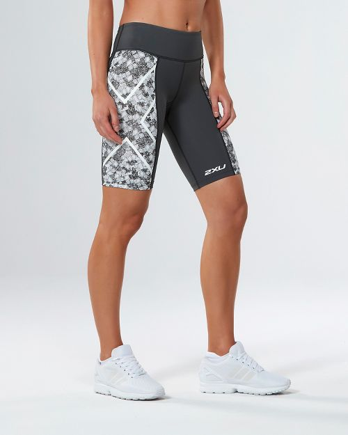 Womens 2XU PTN Mid-Rise Compression & Fitted Shorts - Charcoal/Prism Cloud S