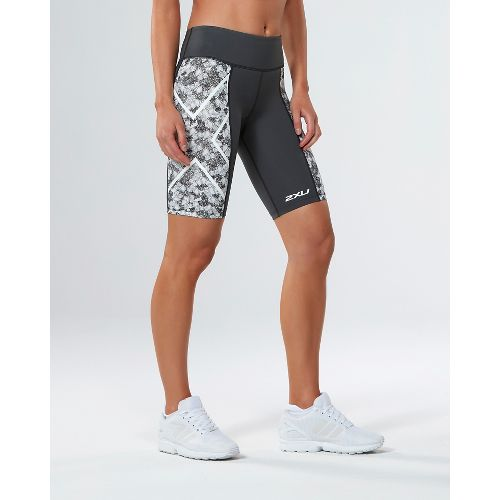 Womens 2XU PTN Mid-Rise Compression & Fitted Shorts - Charcoal/Prism Cloud M