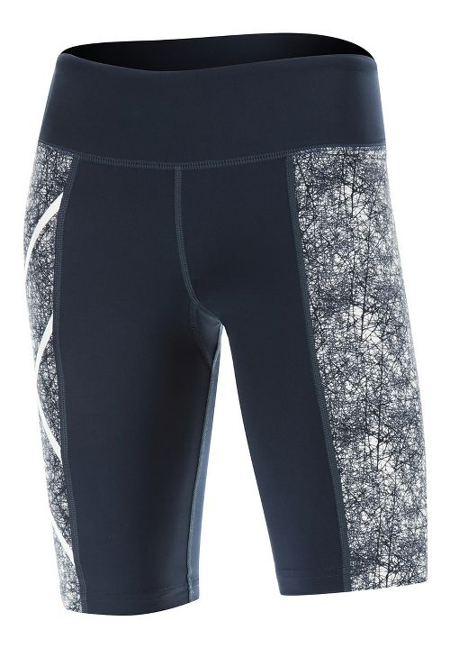 Womens 2XU PTN Mid-Rise Compression & Fitted Shorts - Blue/Vein Pattern M