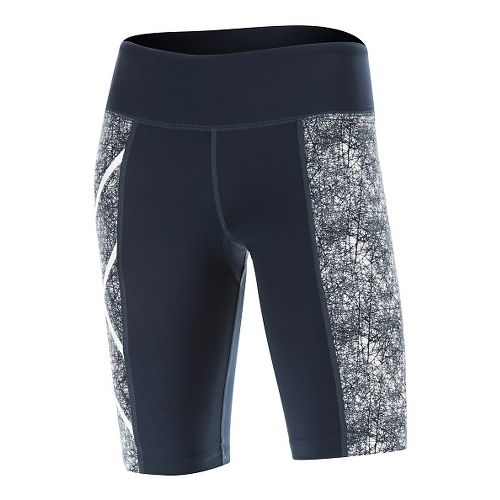 Womens 2XU PTN Mid-Rise Compression & Fitted Shorts - Blue/Vein Pattern S