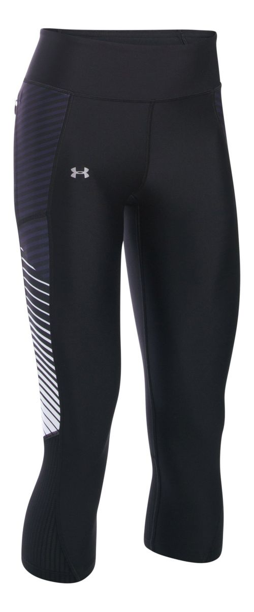 Womens Under Armour Fly By Printed Capris Pants - Black/White L