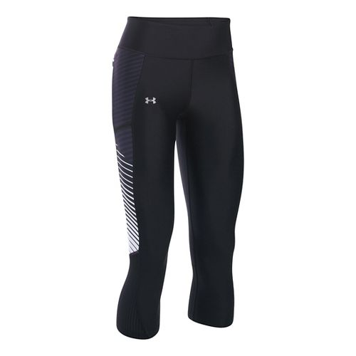 Womens Under Armour Fly By Printed Capris Pants - Black/White M