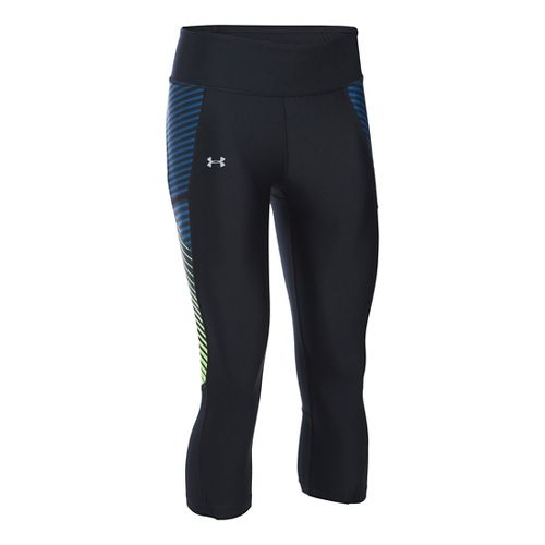 Womens Under Armour Fly By Printed Capris Pants - Black/Heron L
