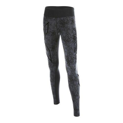 Womens 2XU PTN Mid-Rise Compression Tights & Leggings Pants - Black/Vein Pattern XL