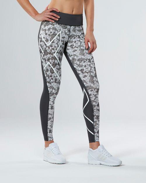 Womens 2XU PTN Mid-Rise Compression Tights & Leggings Pants - Charcoal/Prism Cloud XL