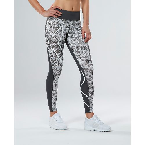 Womens 2XU PTN Mid-Rise Compression Tights & Leggings Pants - Charcoal/Prism Cloud M
