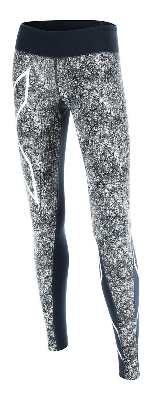 Womens 2XU PTN Mid-Rise Compression Tights & Leggings Pants - Blue/Vein Pattern XL