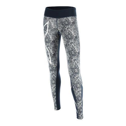 Womens 2XU PTN Mid-Rise Compression Tights & Leggings Pants - Blue/Vein Pattern S