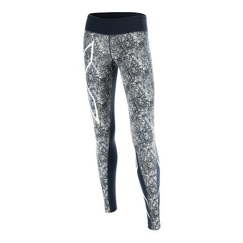 Womens 2XU PTN Mid-Rise Compression Tights & Leggings Pants - Blue/Vein Pattern XL