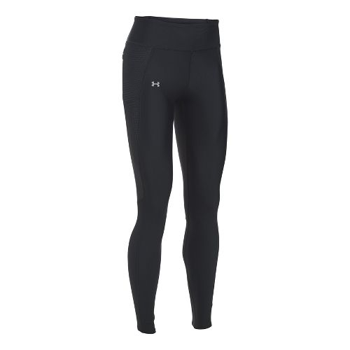 Womens Under Armour Fly By Printed Tights & Leggings Pants - Black/Silver S