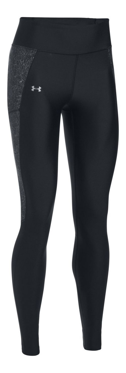 Womens Under Armour Fly By Printed Tights & Leggings Pants - Black/Black XS