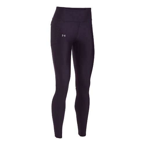 Womens Under Armour Fly By Printed Tights & Leggings Pants - Purple/Silver L