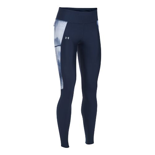 Womens Under Armour Fly By Printed Tights & Leggings Pants - Midnight Navy L
