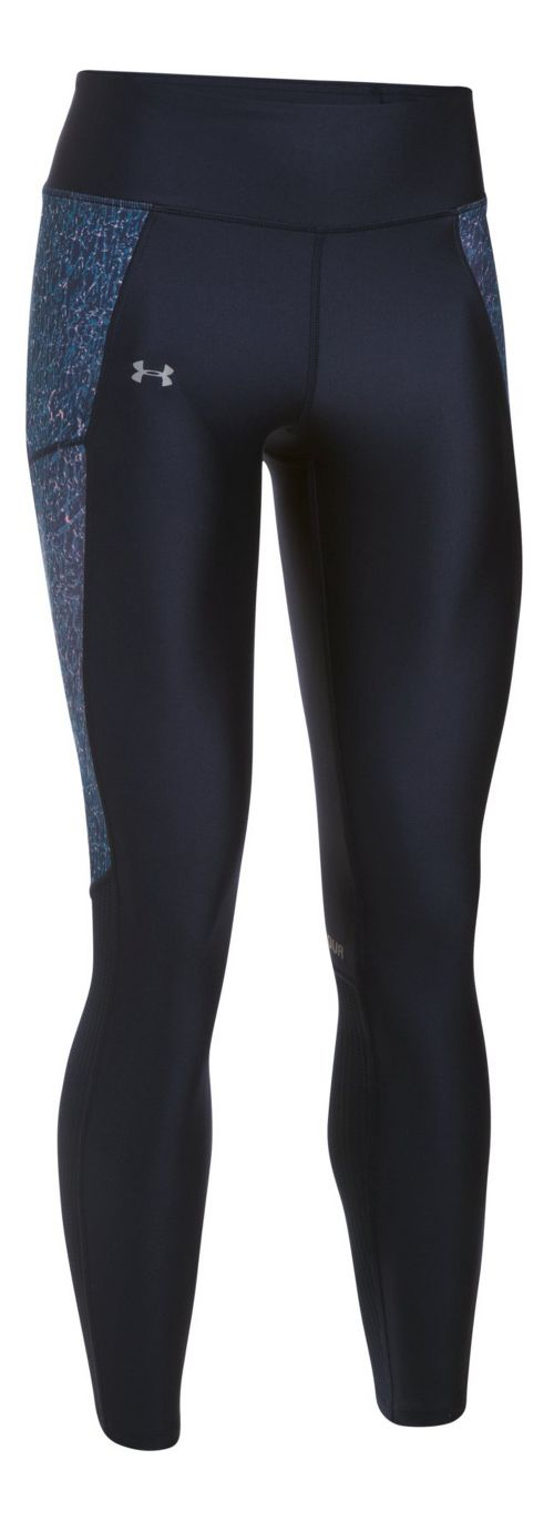 Womens Under Armour Fly By Printed Tights & Leggings Pants - Midnight Navy/Grey S