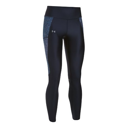 Womens Under Armour Fly By Printed Tights & Leggings Pants - Midnight Navy/Grey M