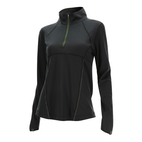 Womens 2XU Thermal Active 1/4 Zip Long Sleeve Technical Tops - Black/Kombu Green S