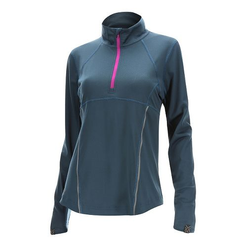 Womens 2XU Thermal Active 1/4 Zip Long Sleeve Technical Tops - Ombre Blue/ Wild L ...
