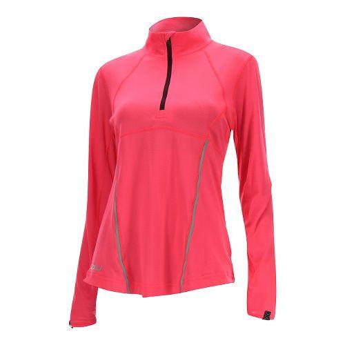 Womens 2XU Thermal Active 1/4 Zip Long Sleeve Technical Tops - Pink/Burgundy S