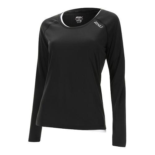 Womens 2XU Thermal Vent Long Sleeve Technical Tops - Black/Black M