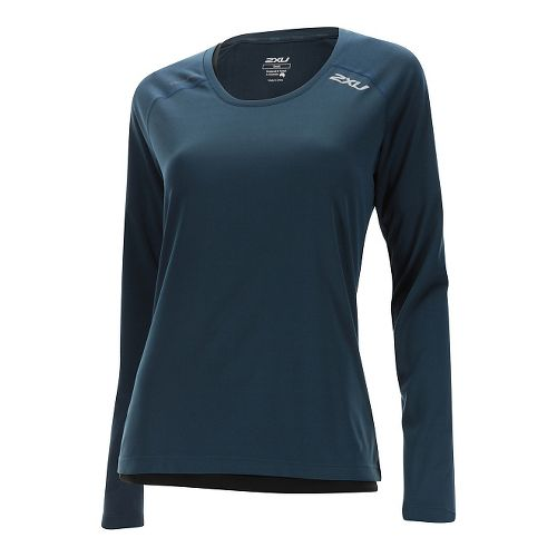Womens 2XU Thermal Vent Long Sleeve Technical Tops - Ombre Blue M