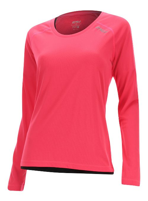 Womens 2XU Thermal Vent Long Sleeve Technical Tops - Pink Glow/ Pink Glow M