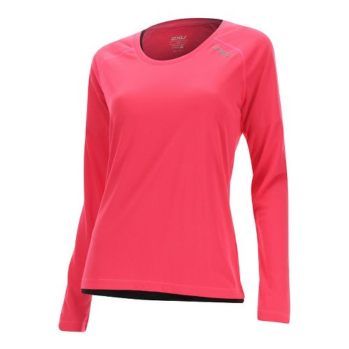 Womens 2XU Thermal Vent Long Sleeve Technical Tops - Pink Glow/ Pink Glow L