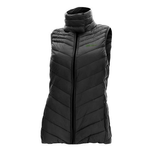 Womens 2XU Transit Vests Jackets - Black/Kombu Green L