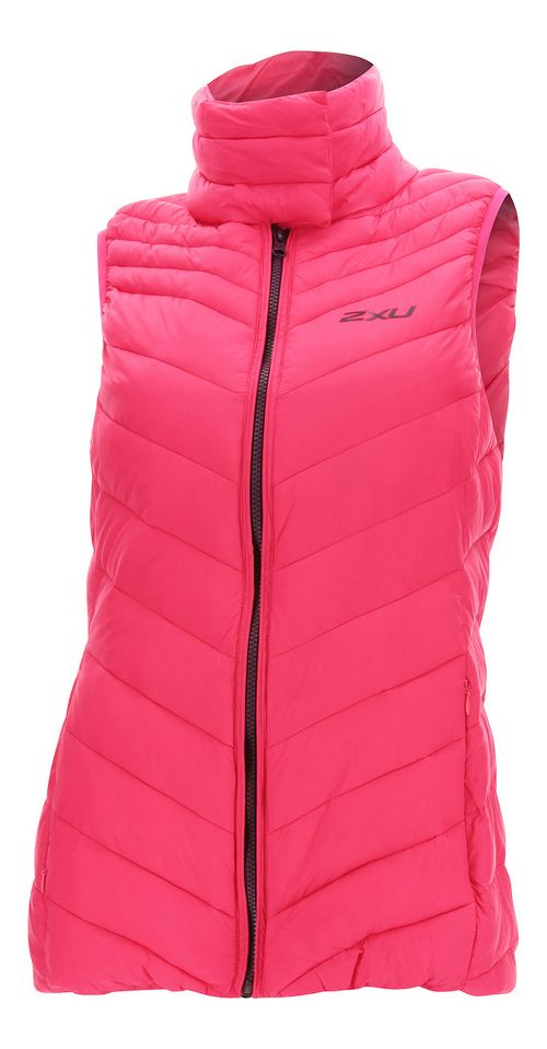 Womens 2XU Transit Vests Jackets - Pink/Burgundy L