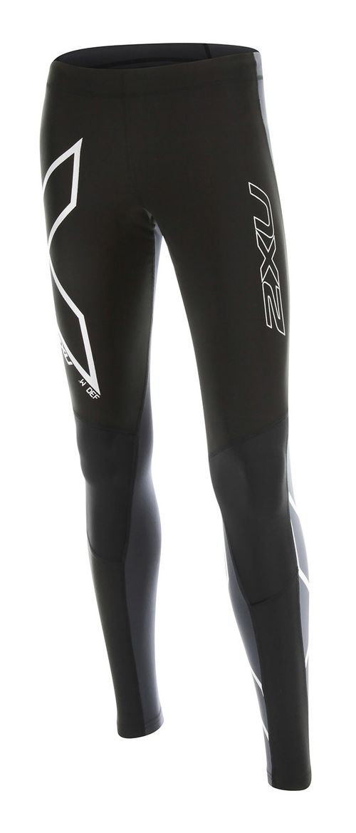Womens 2XU Wind Defense Compression Tights & Leggings Pants - Black/Steel S-T