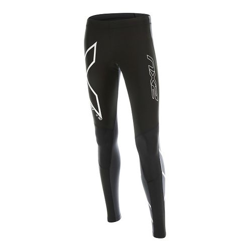 Womens 2XU Wind Defense Compression Tights & Leggings Pants - Black/Steel M-R