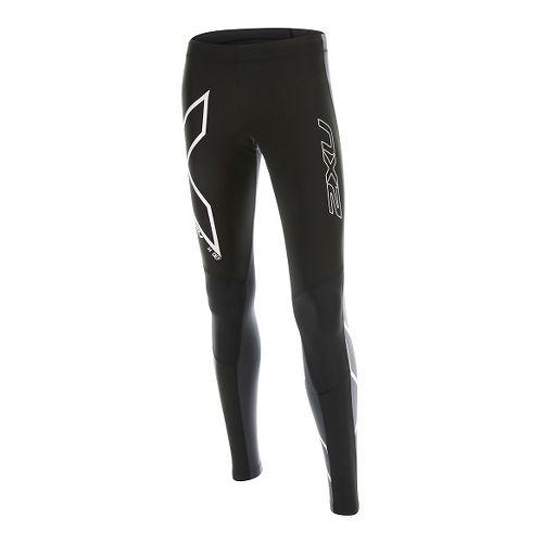 Womens 2XU Wind Defense Compression Tights & Leggings Pants - Black/Steel XS-R