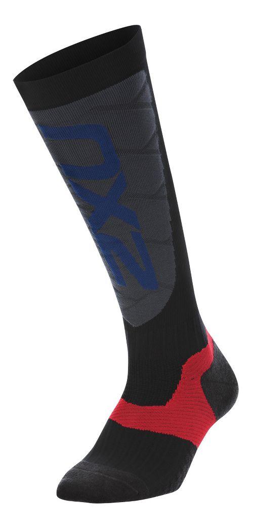 Womens 2XU Elite Compression Alpine Socks Injury Recovery - Black/Grey L