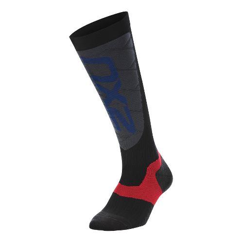 Womens 2XU Elite Compression Alpine Socks Injury Recovery - Black/Grey XS